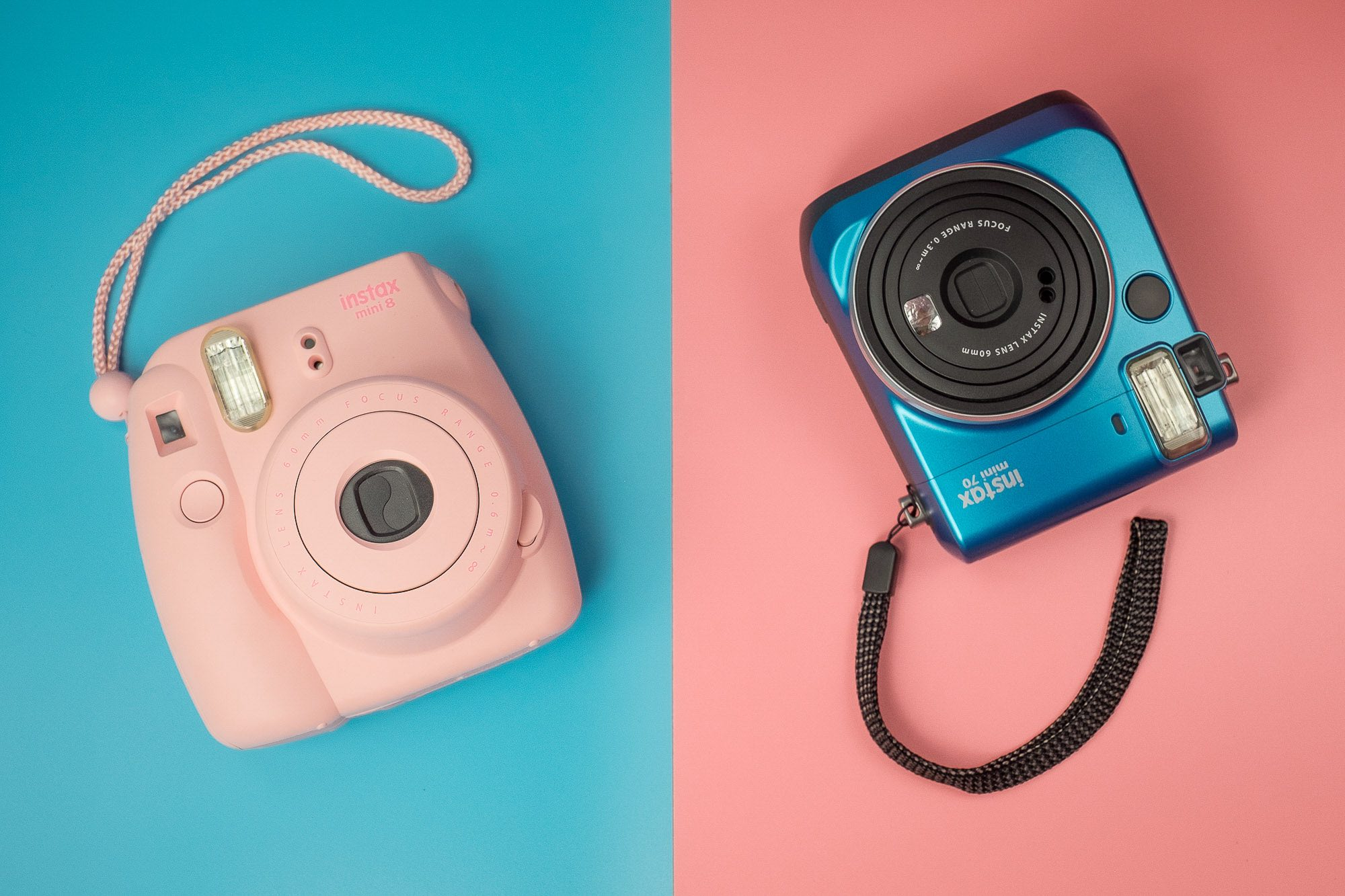 Product photography services studio photographer Singapore e-commerce shoot Fujifilm instax camera film pink blue